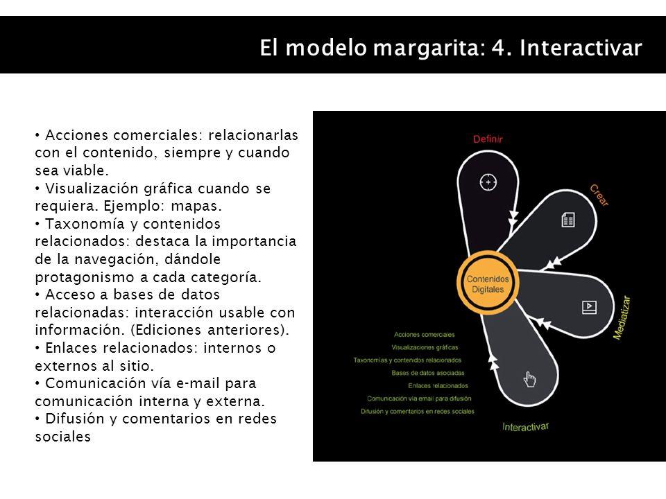 El modelo margarita: 4. Interactivar Acciones comerciales: relacionarlas con el contenido, siempre y cuando sea viable. Visualización gráfica cuando s