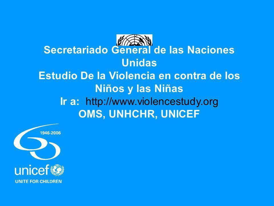 Secretariado General de las Naciones Unidas Estudio De la Violencia en contra de los Niños y las Niñas Ir a: http://www.violencestudy.org OMS, UNHCHR, UNICEF