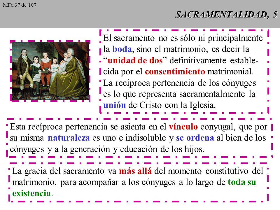 SACRAMENTALIDAD, 5 El sacramento no es sólo ni principalmente la boda, sino el matrimonio, es decir la unidad de dos definitivamente estable- cida por