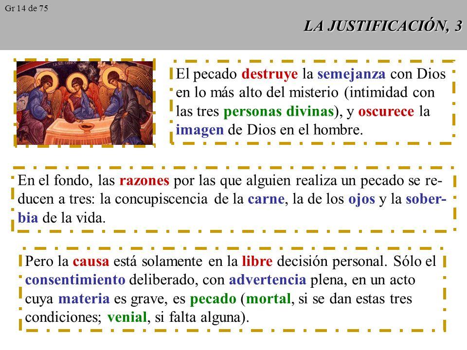 LA JUSTIFICACIÓN, 3 El pecado destruye la semejanza con Dios en lo más alto del misterio (intimidad con las tres personas divinas), y oscurece la imagen de Dios en el hombre.
