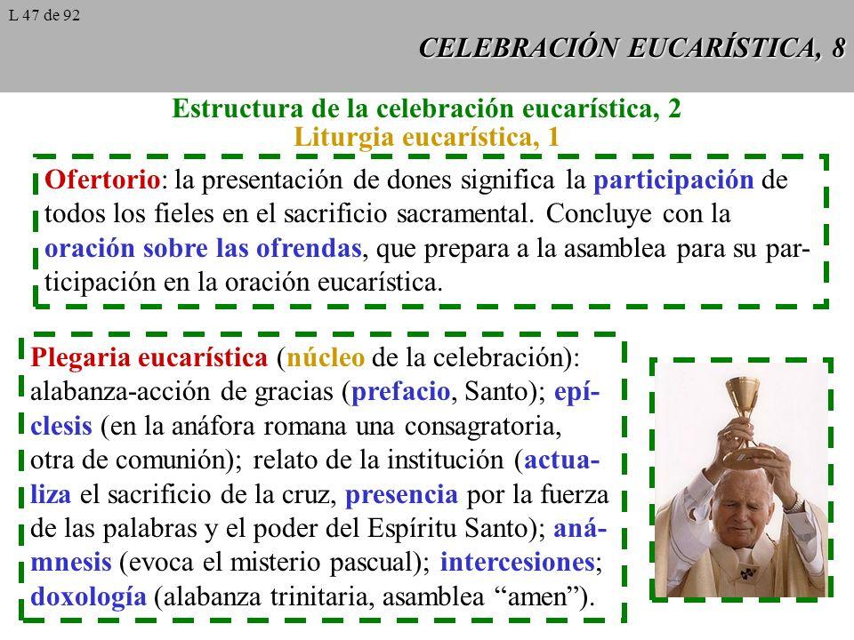 CELEBRACIÓN EUCARÍSTICA, 8 Estructura de la celebración eucarística, 2 Liturgia eucarística, 1 Ofertorio: la presentación de dones significa la participación de todos los fieles en el sacrificio sacramental.
