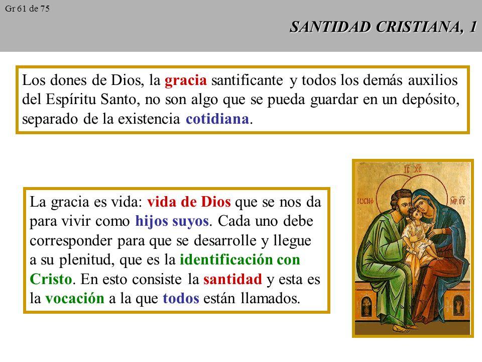 SANTIDAD CRISTIANA, 1 Los dones de Dios, la gracia santificante y todos los demás auxilios del Espíritu Santo, no son algo que se pueda guardar en un depósito, separado de la existencia cotidiana.