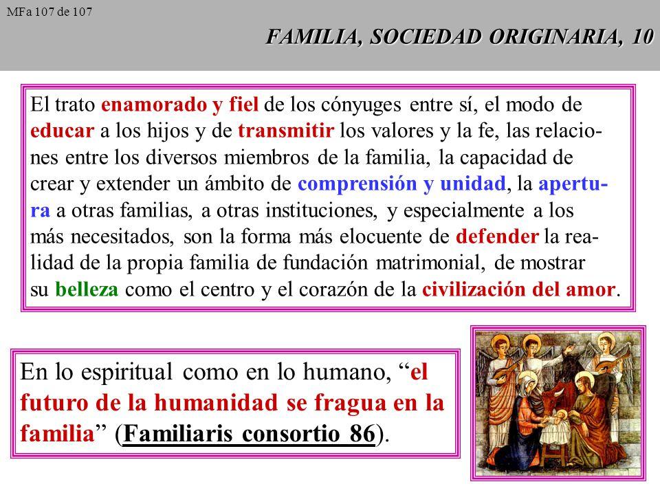 FAMILIA, SOCIEDAD ORIGINARIA, 10 El trato enamorado y fiel de los cónyuges entre sí, el modo de educar a los hijos y de transmitir los valores y la fe