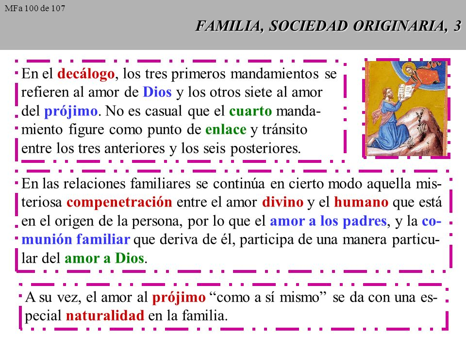 FAMILIA, SOCIEDAD ORIGINARIA, 3 En el decálogo, los tres primeros mandamientos se refieren al amor de Dios y los otros siete al amor del prójimo. No e