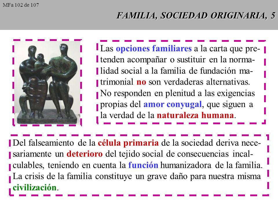 FAMILIA, SOCIEDAD ORIGINARIA, 5 Las opciones familiares a la carta que pre- tenden acompañar o sustituir en la norma- lidad social a la familia de fun