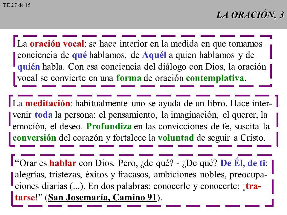 LA ORACIÓN, 3 La oración vocal: se hace interior en la medida en que tomamos conciencia de qué hablamos, de Aquél a quien hablamos y de quién habla. C