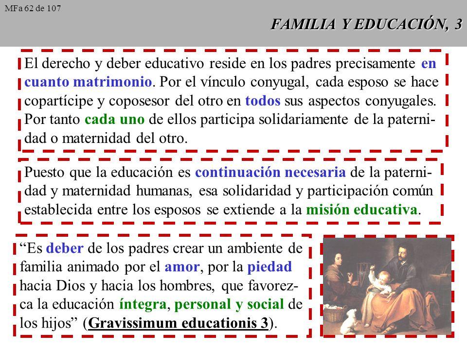 FAMILIA Y EDUCACIÓN, 3 El derecho y deber educativo reside en los padres precisamente en cuanto matrimonio. Por el vínculo conyugal, cada esposo se ha