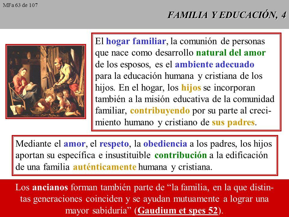 FAMILIA Y EDUCACIÓN, 4 El hogar familiar, la comunión de personas que nace como desarrollo natural del amor de los esposos, es el ambiente adecuado pa