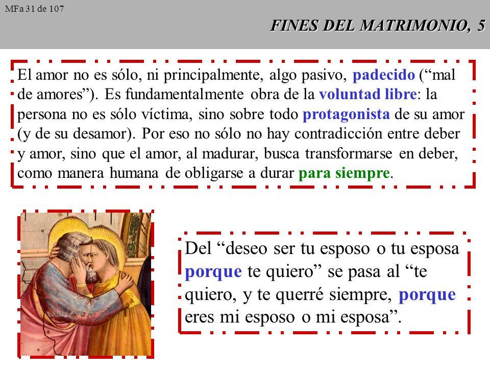 FINES DEL MATRIMONIO, 5 El amor no es sólo, ni principalmente, algo pasivo, padecido (mal de amores).