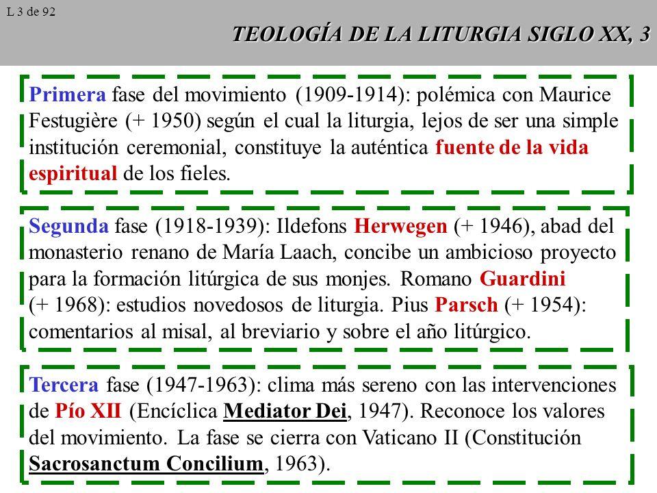 TEOLOGÍA DE LA LITURGIA SIGLO XX, 4 La encíclica de Pío XII Mediator Dei (1947), primer documento magisterial que trata de ma- nera estructurada la naturaleza del culto de la Iglesia.