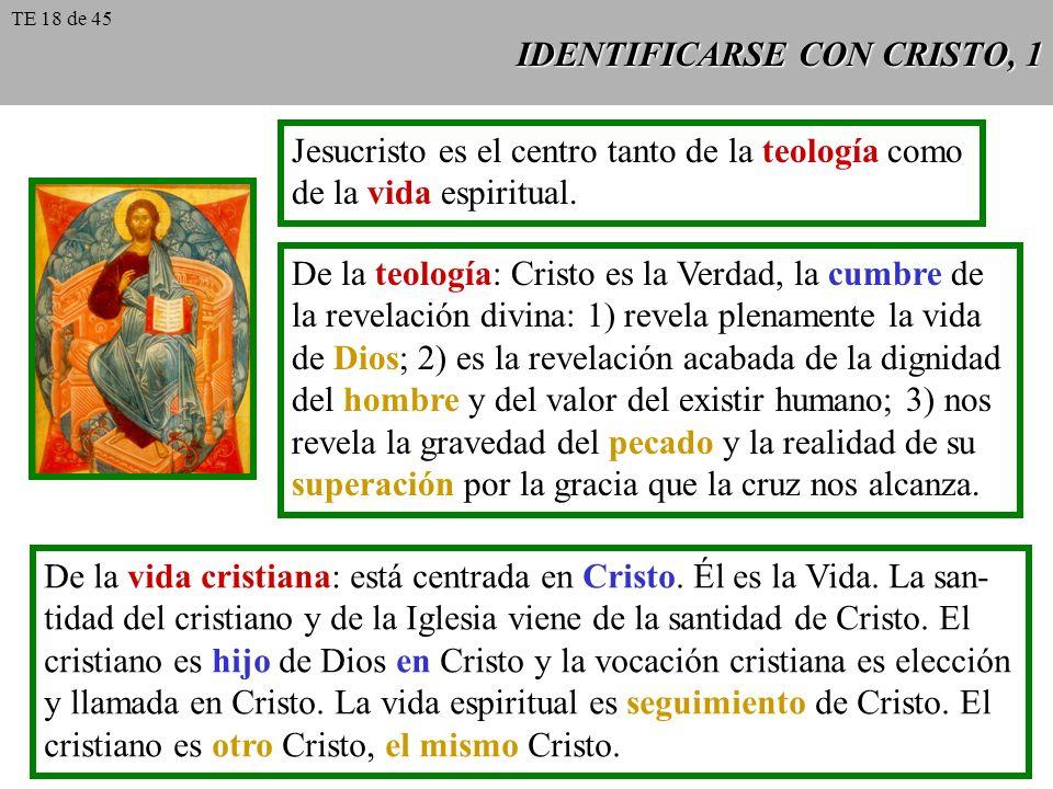 IDENTIFICARSE CON CRISTO, 1 Jesucristo es el centro tanto de la teología como de la vida espiritual. De la teología: Cristo es la Verdad, la cumbre de