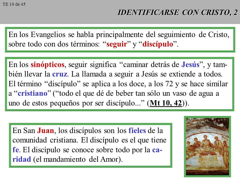 IDENTIFICARSE CON CRISTO, 2 En los Evangelios se habla principalmente del seguimiento de Cristo, sobre todo con dos términos: seguir y discípulo. En l