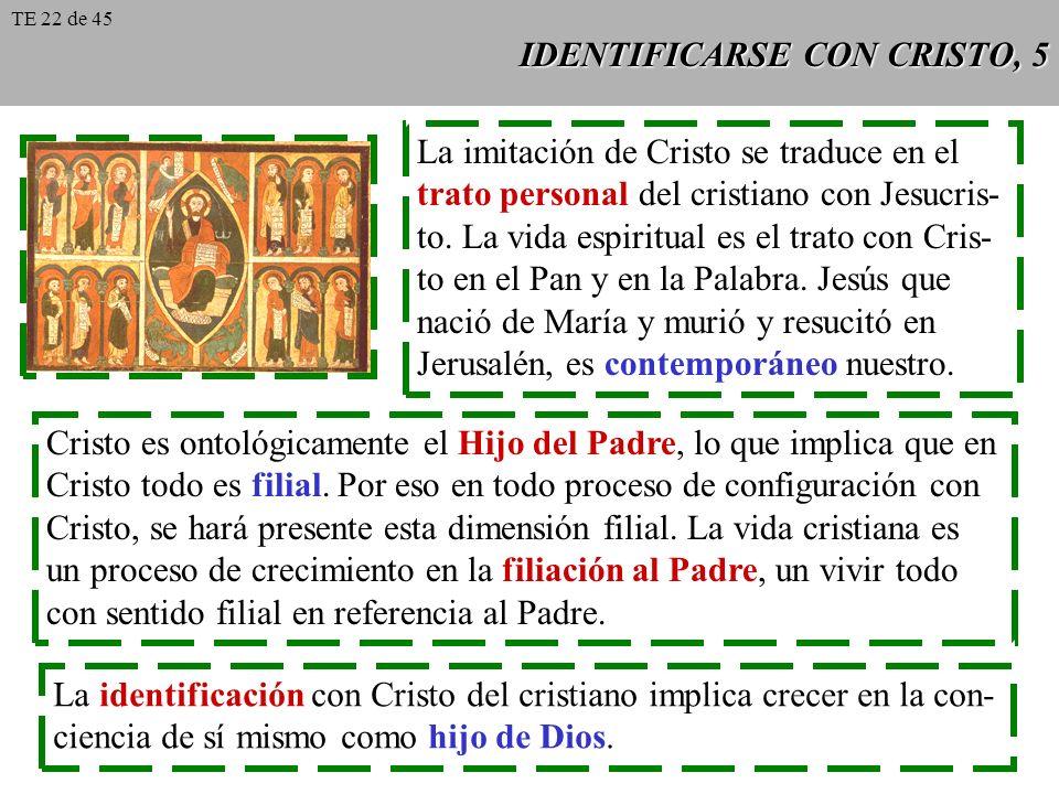 IDENTIFICARSE CON CRISTO, 5 La imitación de Cristo se traduce en el trato personal del cristiano con Jesucris- to. La vida espiritual es el trato con