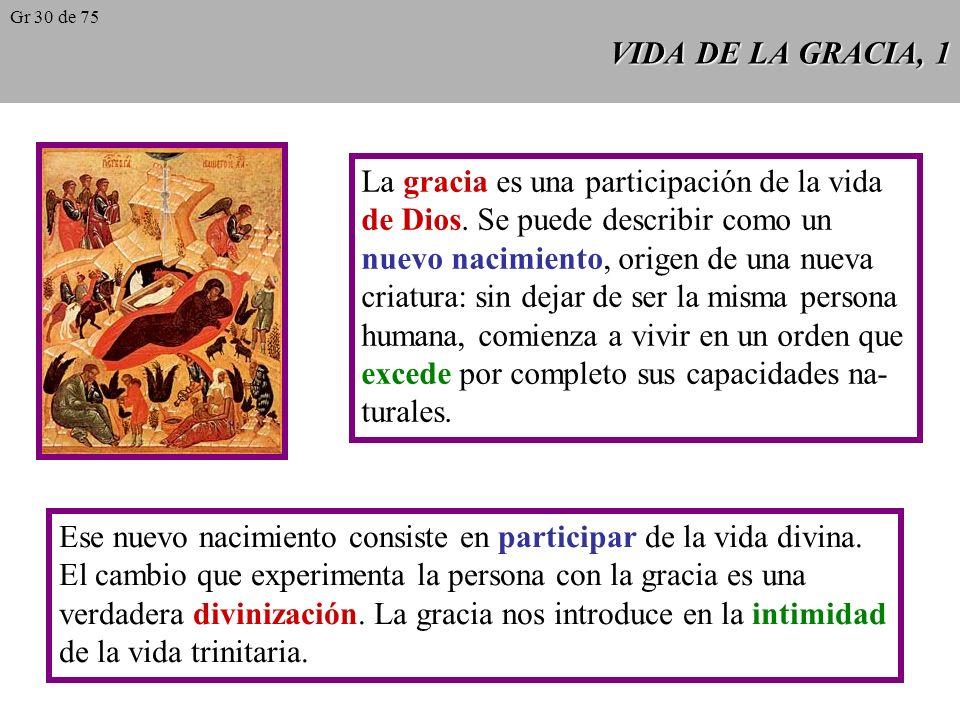 VIDA DE LA GRACIA, 1 La gracia es una participación de la vida de Dios.