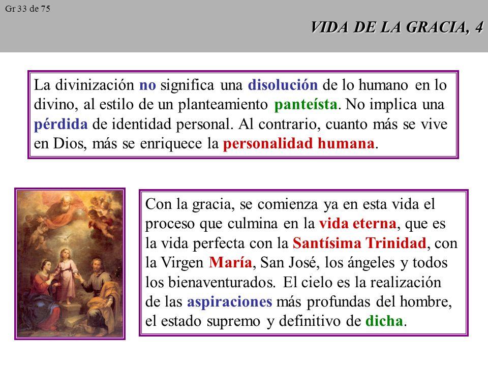 VIDA DE LA GRACIA, 4 La divinización no significa una disolución de lo humano en lo divino, al estilo de un planteamiento panteísta.