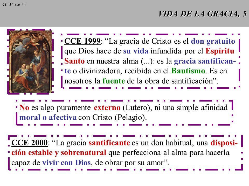VIDA DE LA GRACIA, 5 CCE 1999: La gracia de Cristo es el don gratuito que Dios hace de su vida infundida por el Espíritu Santo en nuestra alma (...): es la gracia santifican- te o divinizadora, recibida en el Bautismo.