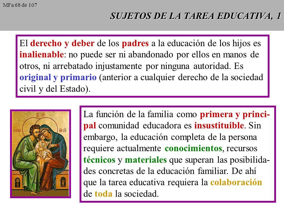 SUJETOS DE LA TAREA EDUCATIVA, 1 El derecho y deber de los padres a la educación de los hijos es inalienable: no puede ser ni abandonado por ellos en manos de otros, ni arrebatado injustamente por ninguna autoridad.