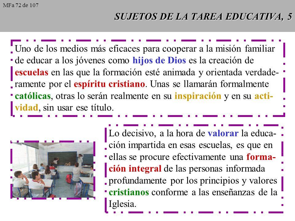 SUJETOS DE LA TAREA EDUCATIVA, 5 Uno de los medios más eficaces para cooperar a la misión familiar de educar a los jóvenes como hijos de Dios es la cr