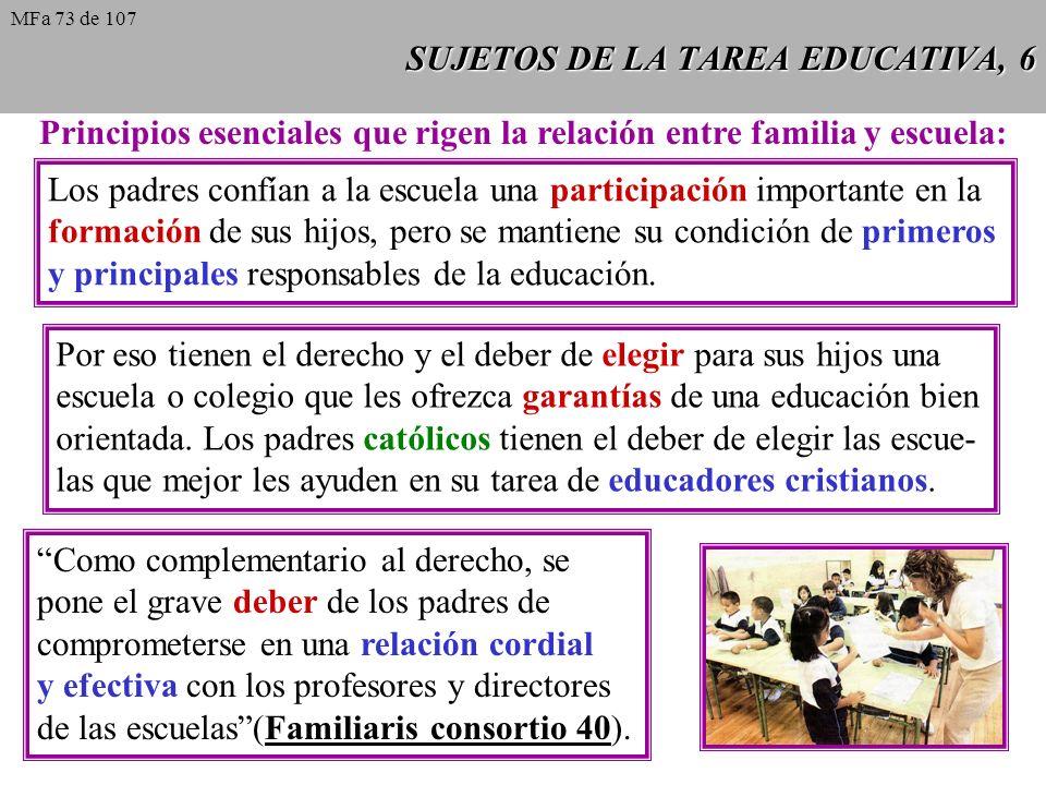 SUJETOS DE LA TAREA EDUCATIVA, 6 Principios esenciales que rigen la relación entre familia y escuela: Los padres confían a la escuela una participación importante en la formación de sus hijos, pero se mantiene su condición de primeros y principales responsables de la educación.