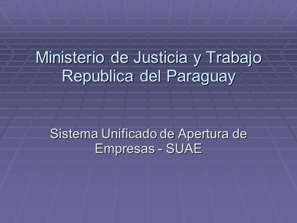 Ministerio de Justicia y Trabajo Republica del Paraguay Sistema Unificado de Apertura de Empresas - SUAE