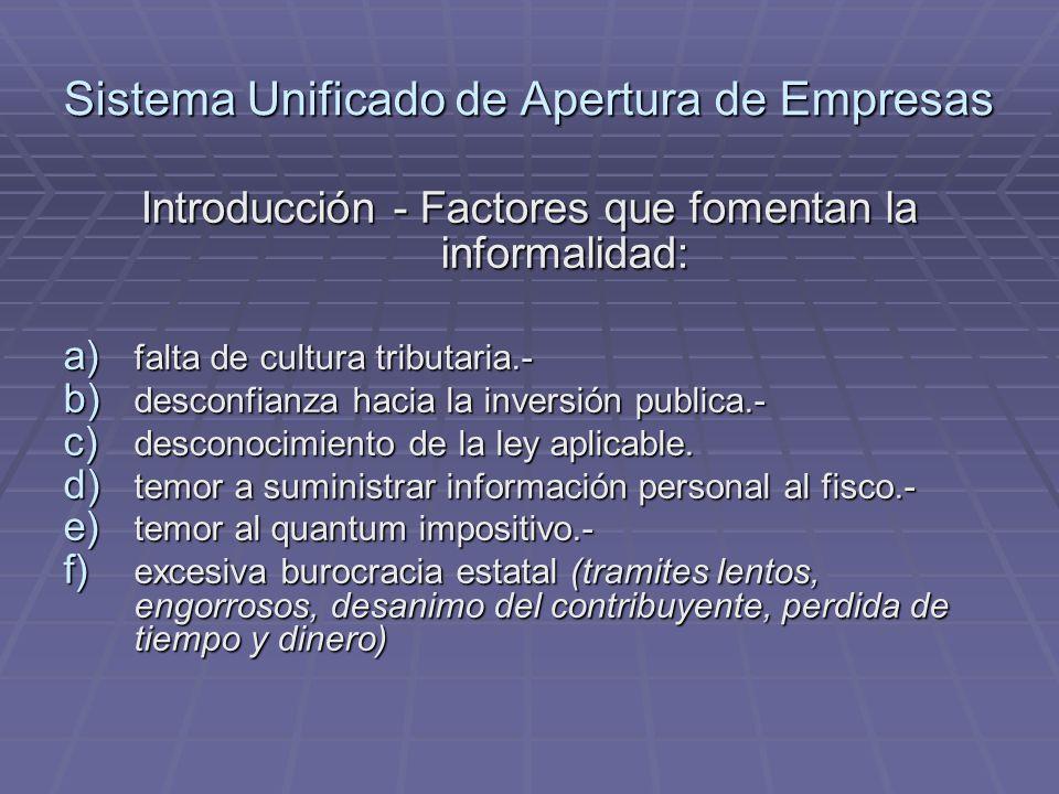 Sistema Unificado de Apertura de Empresas Introducción - Factores que fomentan la informalidad: a) falta de cultura tributaria.- b) desconfianza hacia