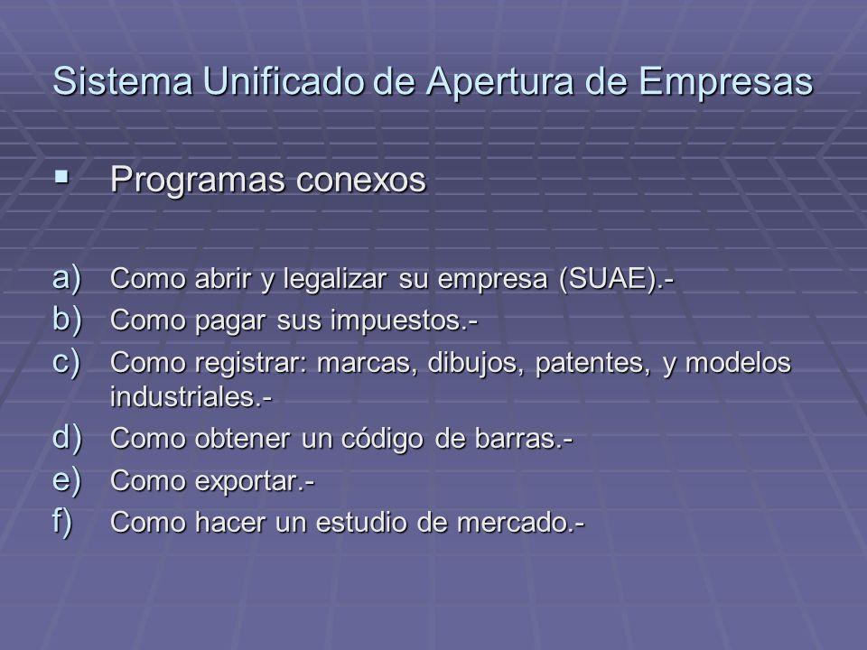 Sistema Unificado de Apertura de Empresas Programas conexos Programas conexos a) Como abrir y legalizar su empresa (SUAE).- b) Como pagar sus impuesto