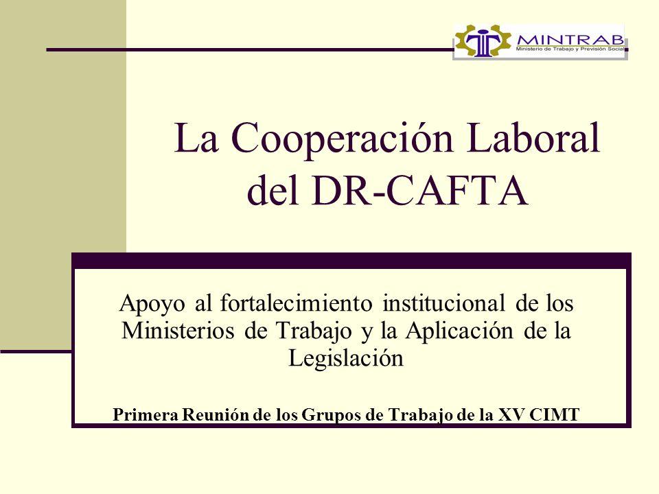 La Cooperación Laboral del DR-CAFTA Apoyo al fortalecimiento institucional de los Ministerios de Trabajo y la Aplicación de la Legislación Primera Reunión de los Grupos de Trabajo de la XV CIMT