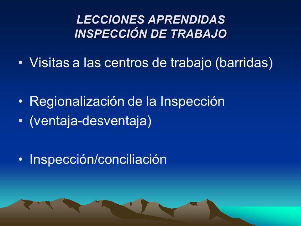 LECCIONES APRENDIDAS INSPECCIÓN DE TRABAJO Visitas a las centros de trabajo (barridas) Regionalización de la Inspección (ventaja-desventaja) Inspección/conciliación