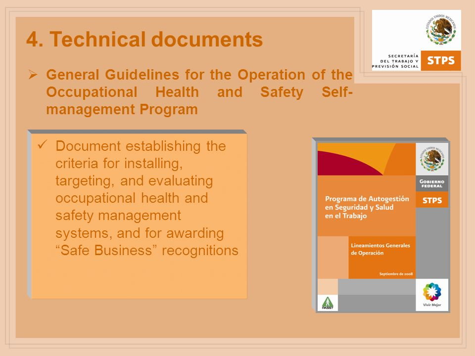 4. Technical documents General Guidelines for the Operation of the Occupational Health and Safety Self- management Program Document establishing the c