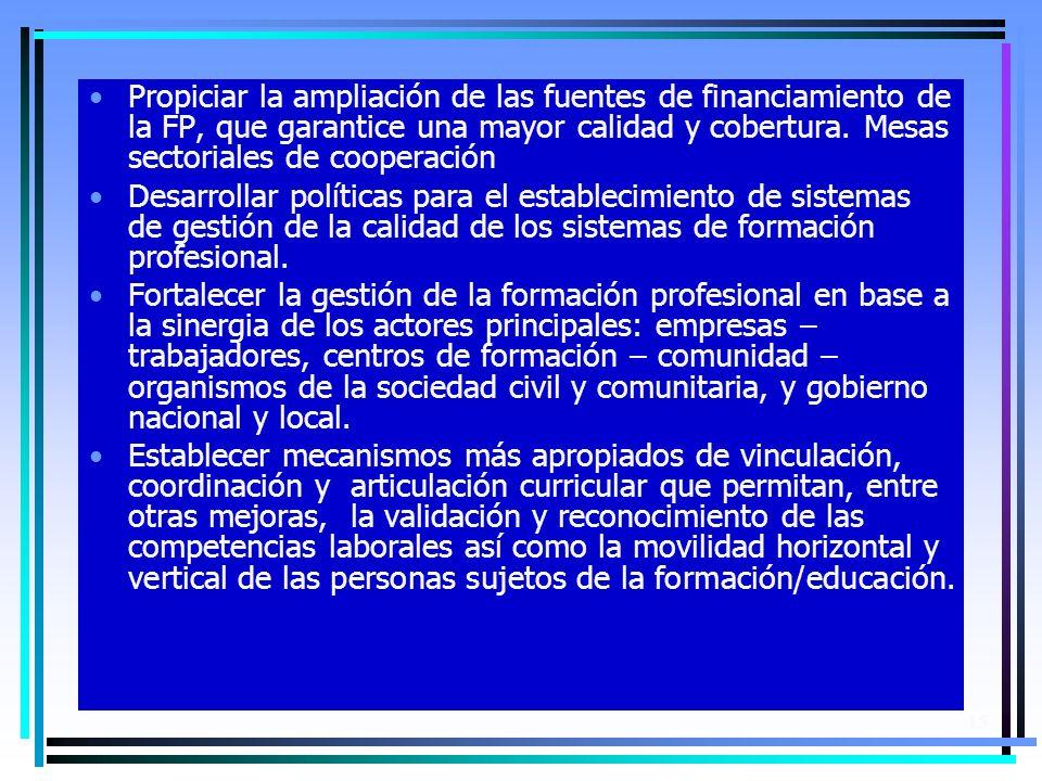 15 Propiciar la ampliación de las fuentes de financiamiento de la FP, que garantice una mayor calidad y cobertura.