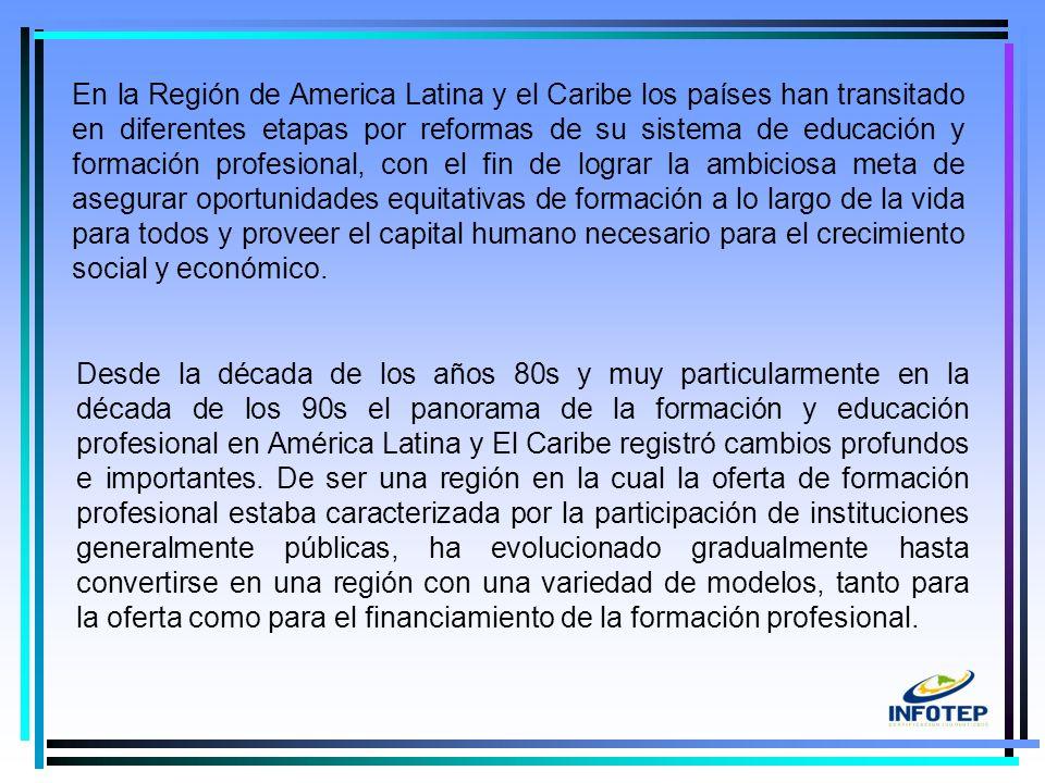 5 Desde la década de los años 80s y muy particularmente en la década de los 90s el panorama de la formación y educación profesional en América Latina y El Caribe registró cambios profundos e importantes.