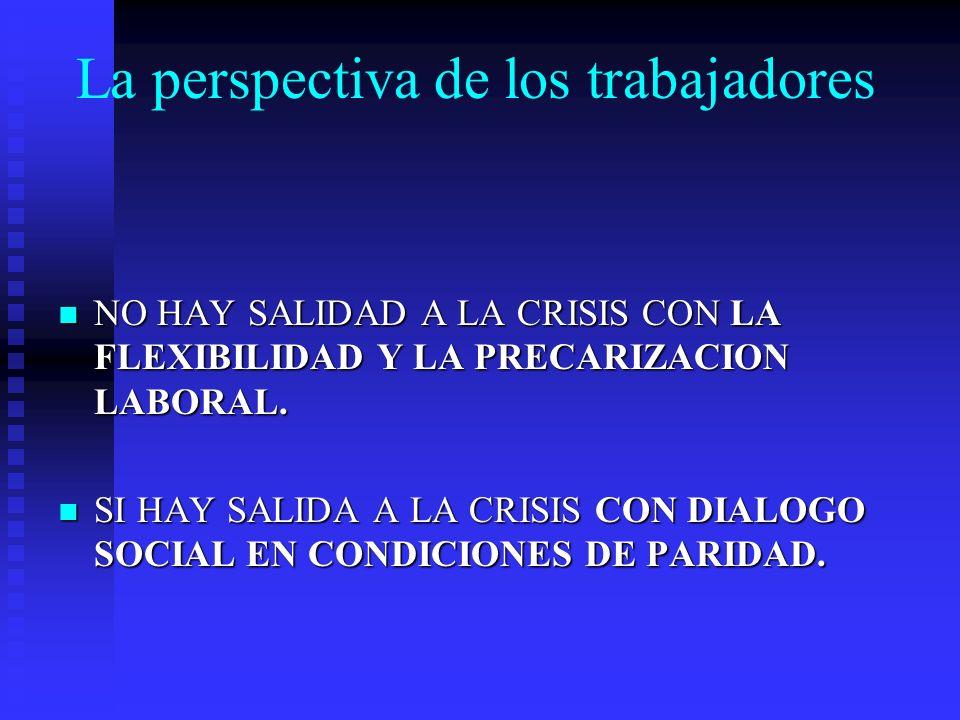 La perspectiva de los trabajadores NO HAY SALIDAD A LA CRISIS CON LA FLEXIBILIDAD Y LA PRECARIZACION LABORAL.