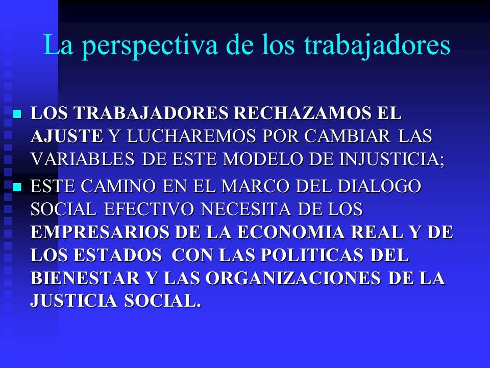 La perspectiva de los trabajadores LOS TRABAJADORES RECHAZAMOS EL AJUSTE Y LUCHAREMOS POR CAMBIAR LAS VARIABLES DE ESTE MODELO DE INJUSTICIA; LOS TRABAJADORES RECHAZAMOS EL AJUSTE Y LUCHAREMOS POR CAMBIAR LAS VARIABLES DE ESTE MODELO DE INJUSTICIA; ESTE CAMINO EN EL MARCO DEL DIALOGO SOCIAL EFECTIVO NECESITA DE LOS EMPRESARIOS DE LA ECONOMIA REAL Y DE LOS ESTADOS CON LAS POLITICAS DEL BIENESTAR Y LAS ORGANIZACIONES DE LA JUSTICIA SOCIAL.