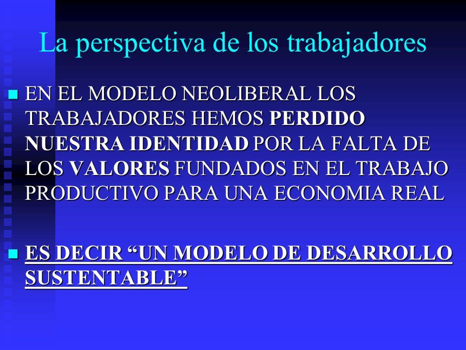 La perspectiva de los trabajadores EN EL MODELO NEOLIBERAL LOS TRABAJADORES HEMOS PERDIDO NUESTRA IDENTIDAD POR LA FALTA DE LOS VALORES FUNDADOS EN EL TRABAJO PRODUCTIVO PARA UNA ECONOMIA REAL EN EL MODELO NEOLIBERAL LOS TRABAJADORES HEMOS PERDIDO NUESTRA IDENTIDAD POR LA FALTA DE LOS VALORES FUNDADOS EN EL TRABAJO PRODUCTIVO PARA UNA ECONOMIA REAL ES DECIR UN MODELO DE DESARROLLO SUSTENTABLE ES DECIR UN MODELO DE DESARROLLO SUSTENTABLE