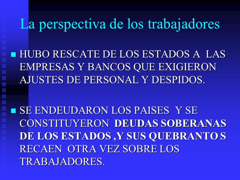 La perspectiva de los trabajadores HUBO RESCATE DE LOS ESTADOS A LAS EMPRESAS Y BANCOS QUE EXIGIERON AJUSTES DE PERSONAL Y DESPIDOS. HUBO RESCATE DE L