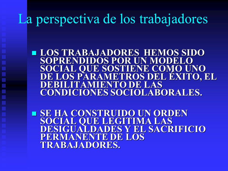 La perspectiva de los trabajadores LOS TRABAJADORES HEMOS SIDO SOPRENDIDOS POR UN MODELO SOCIAL QUE SOSTIENE COMO UNO DE LOS PARAMETROS DEL ÉXITO, EL DEBILITAMIENTO DE LAS CONDICIONES SOCIOLABORALES.