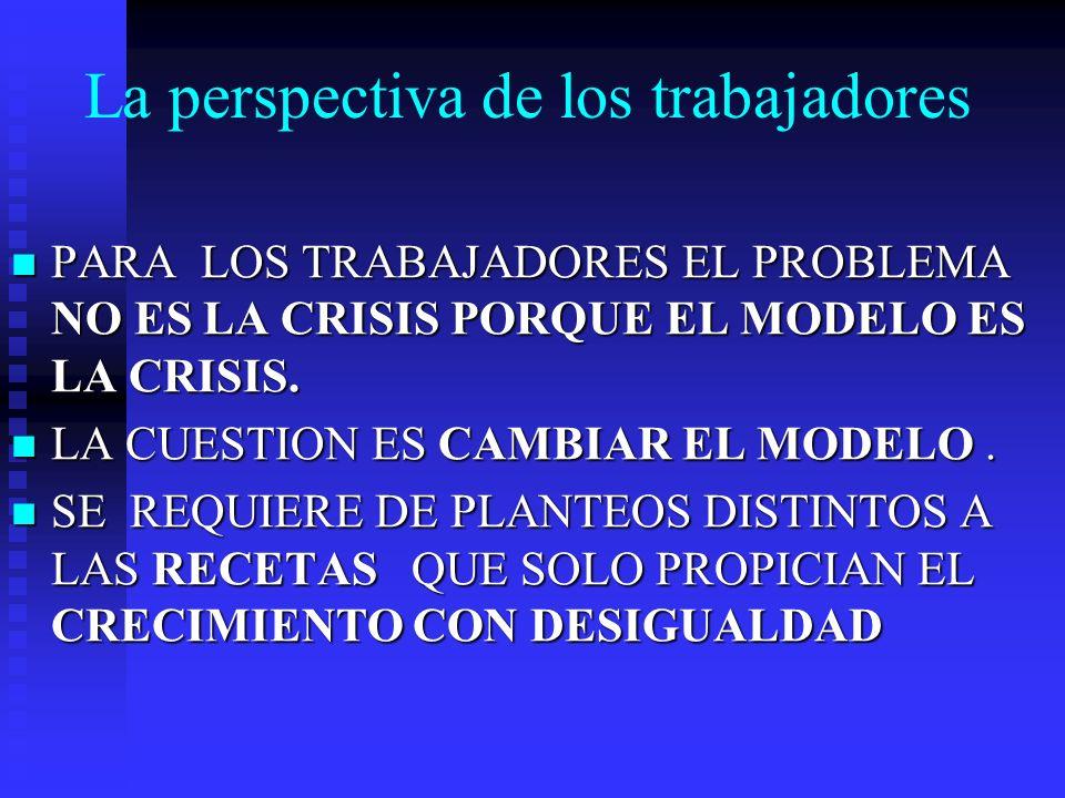 La perspectiva de los trabajadores PARA LOS TRABAJADORES EL PROBLEMA NO ES LA CRISIS PORQUE EL MODELO ES LA CRISIS. PARA LOS TRABAJADORES EL PROBLEMA