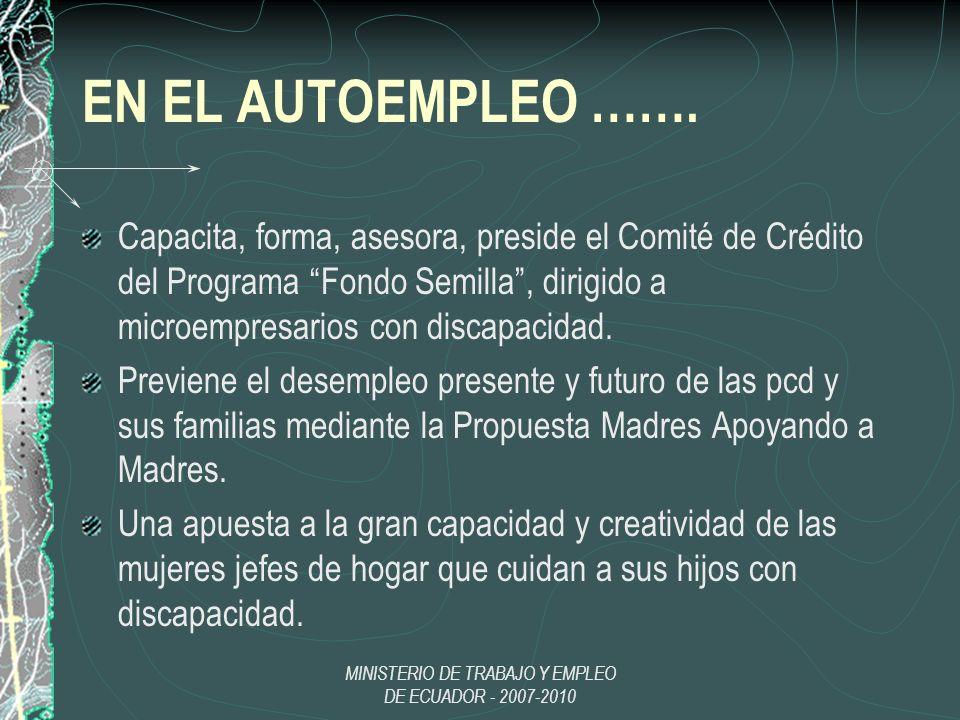 MINISTERIO DE TRABAJO Y EMPLEO DE ECUADOR - 2007-2010 EN EL AUTOEMPLEO ……. Capacita, forma, asesora, preside el Comité de Crédito del Programa Fondo S