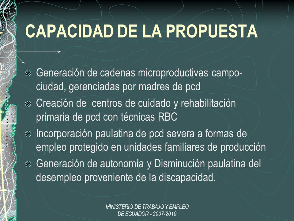 MINISTERIO DE TRABAJO Y EMPLEO DE ECUADOR - 2007-2010 CAPACIDAD DE LA PROPUESTA Generación de cadenas microproductivas campo- ciudad, gerenciadas por