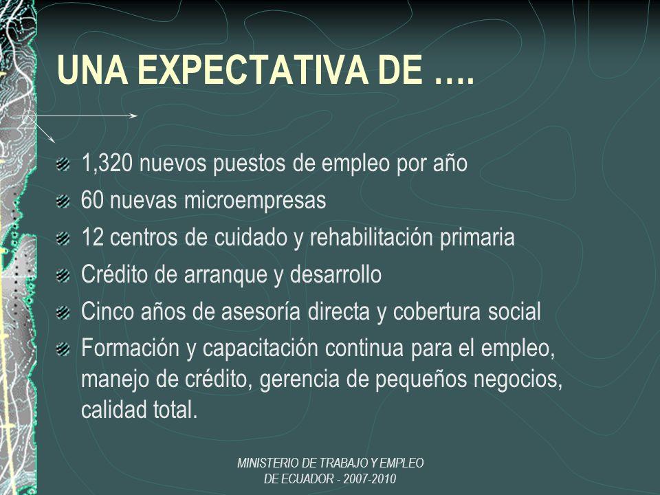 UNA EXPECTATIVA DE …. 1,320 nuevos puestos de empleo por año 60 nuevas microempresas 12 centros de cuidado y rehabilitación primaria Crédito de arranq