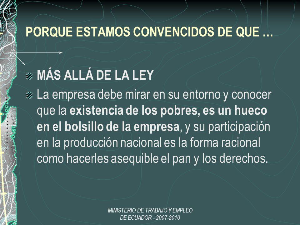 MINISTERIO DE TRABAJO Y EMPLEO DE ECUADOR - 2007-2010 PORQUE ESTAMOS CONVENCIDOS DE QUE … MÁS ALLÁ DE LA LEY La empresa debe mirar en su entorno y con