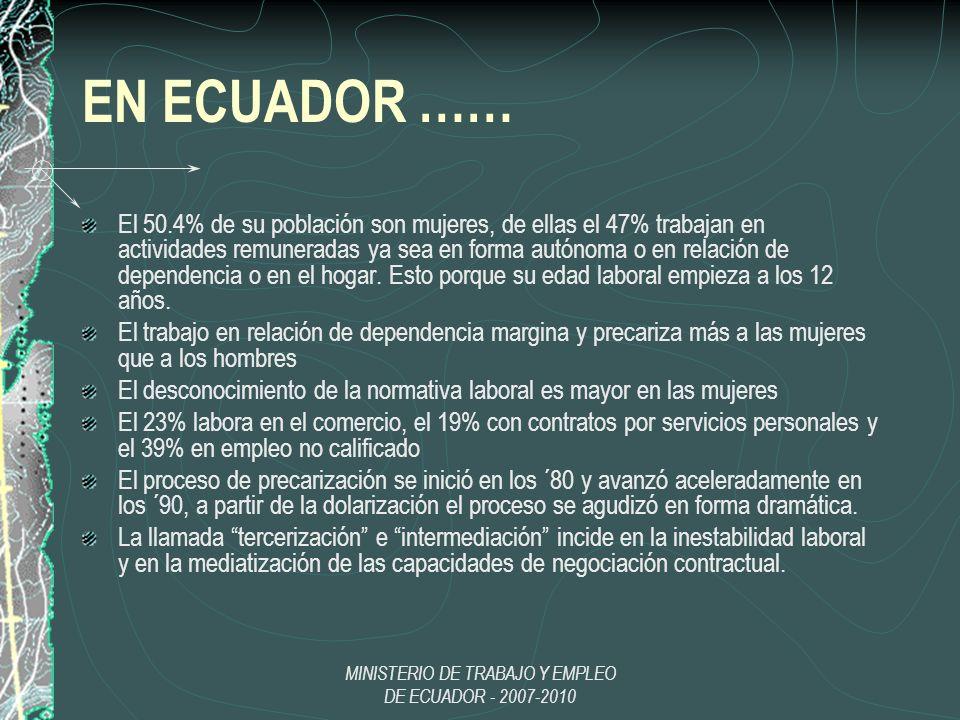 MINISTERIO DE TRABAJO Y EMPLEO DE ECUADOR - 2007-2010 EN ECUADOR …… El 50.4% de su población son mujeres, de ellas el 47% trabajan en actividades remu