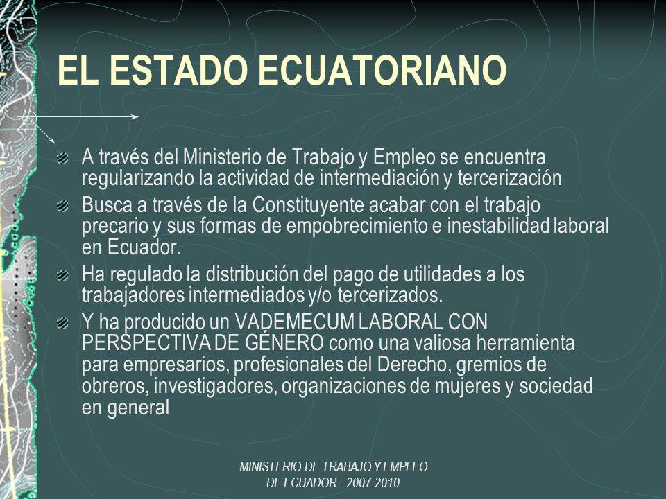 MINISTERIO DE TRABAJO Y EMPLEO DE ECUADOR - 2007-2010 EL ESTADO ECUATORIANO A través del Ministerio de Trabajo y Empleo se encuentra regularizando la