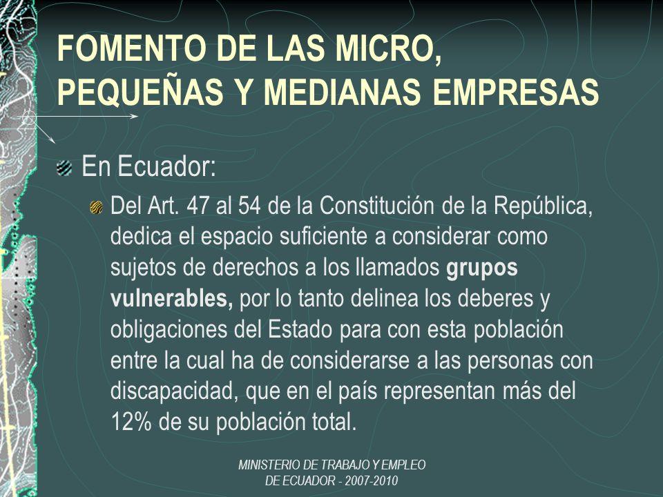 MINISTERIO DE TRABAJO Y EMPLEO DE ECUADOR - 2007-2010 FOMENTO DE LAS MICRO, PEQUEÑAS Y MEDIANAS EMPRESAS En Ecuador: Del Art. 47 al 54 de la Constituc