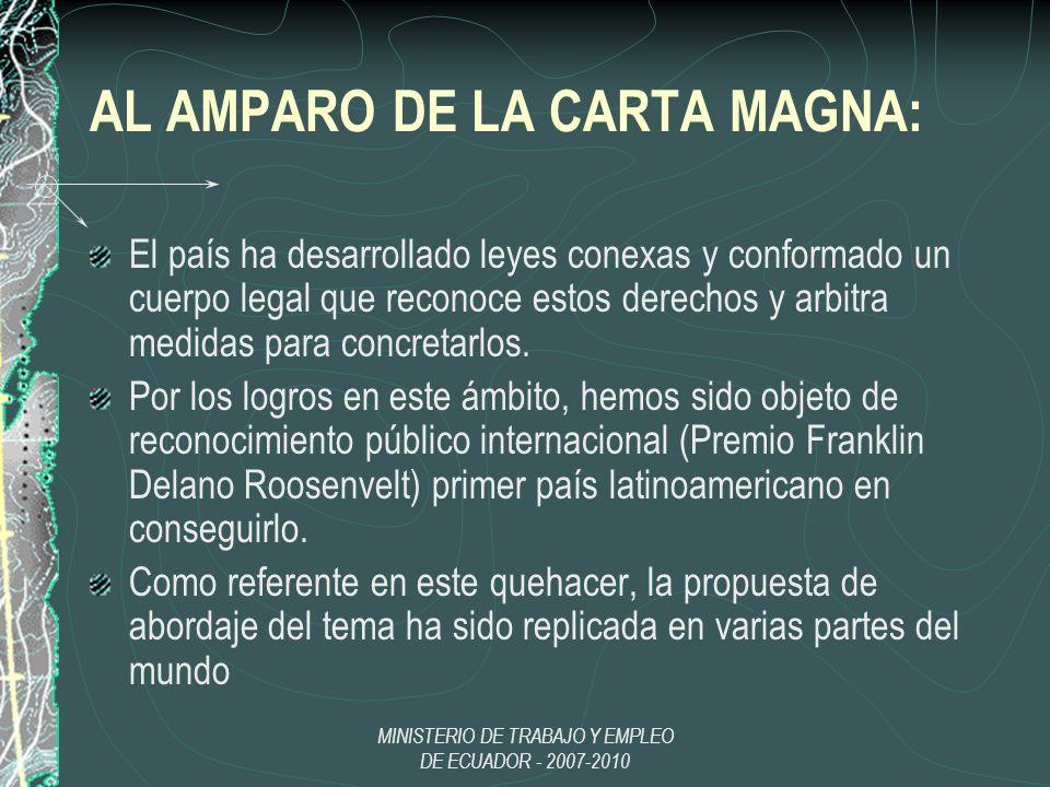 MINISTERIO DE TRABAJO Y EMPLEO DE ECUADOR - 2007-2010 AL AMPARO DE LA CARTA MAGNA: El país ha desarrollado leyes conexas y conformado un cuerpo legal