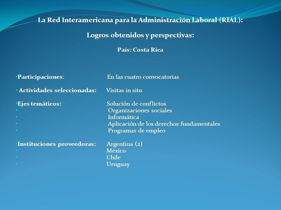 La Red Interamericana para la Administración Laboral (RIAL): Logros obtenidos y perspectivas: País: Costa Rica Participaciones: En las cuatro convocat