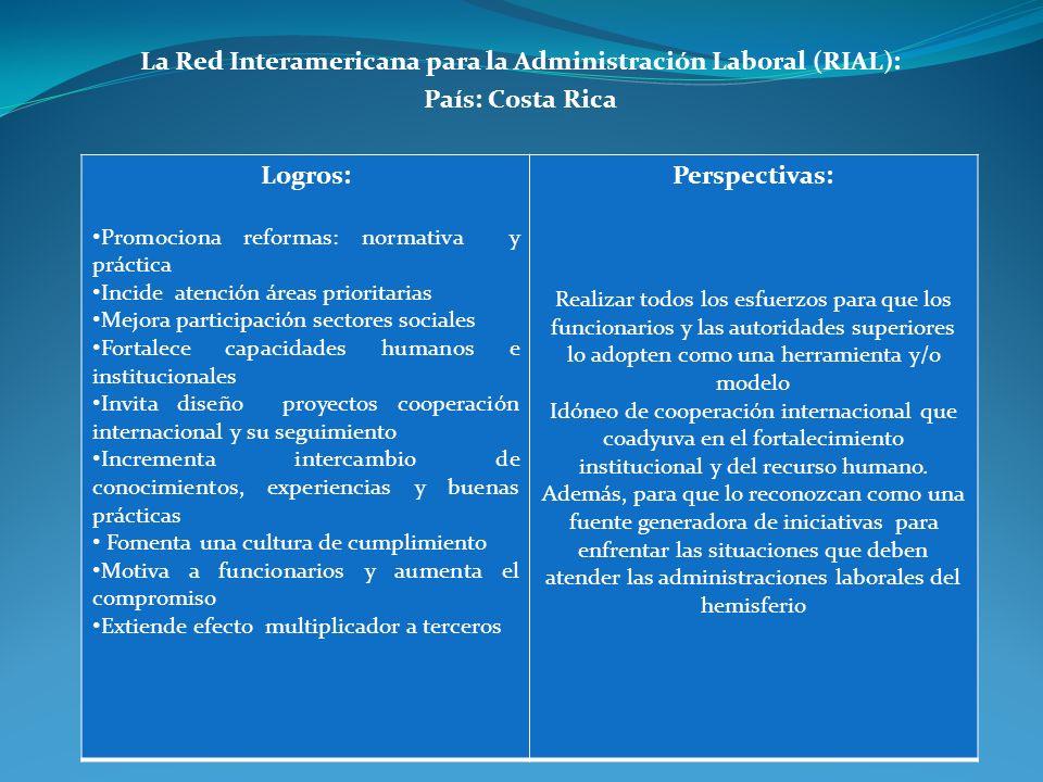 La Red Interamericana para la Administración Laboral (RIAL): País: Costa Rica Logros: Promociona reformas: normativa y práctica Incide atención áreas