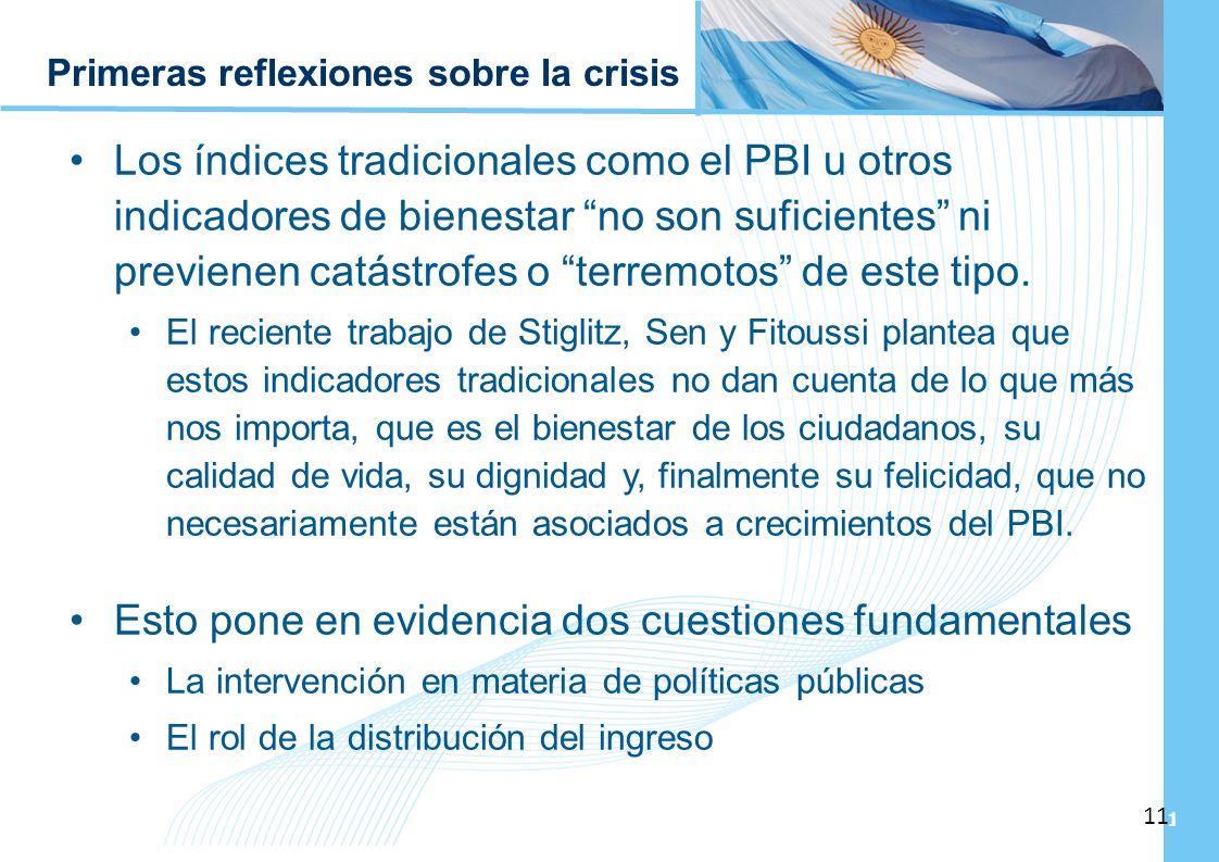 Ampliación del Sistema de Protección Social en Argentina - Período 2003-2010 11 Primeras reflexiones sobre la crisis Los índices tradicionales como el