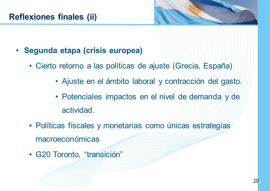 Ampliación del Sistema de Protección Social en Argentina - Período 2003-2010 20 Reflexiones finales (ii) Segunda etapa (crisis europea) Cierto retorno