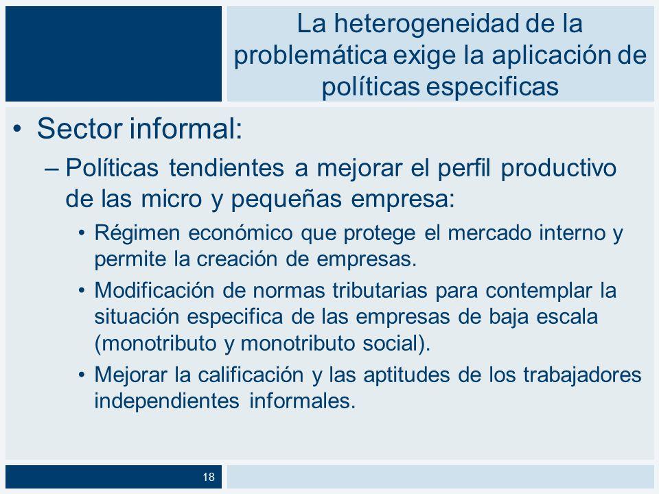 La heterogeneidad de la problemática exige la aplicación de políticas especificas Hogares: –Normativa especifica que contemple la situación particular de estas trabajadoras asalariadas.